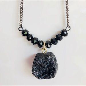 NECKLACE | Black Onyx Druzy Gemstone Necklace